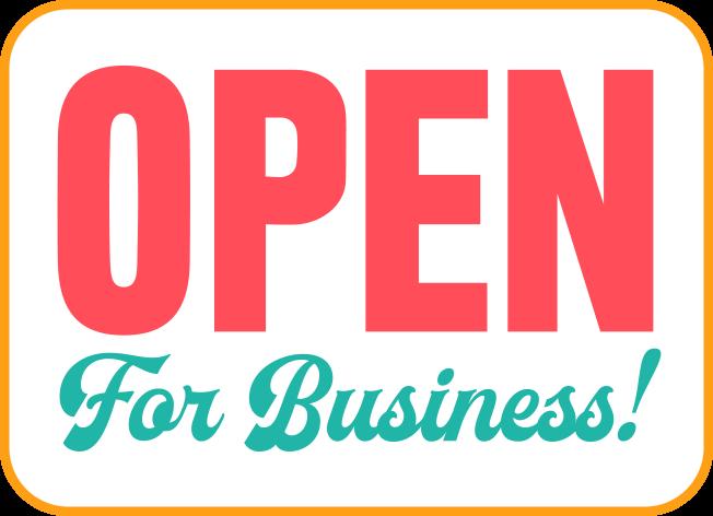 Open for business door sign